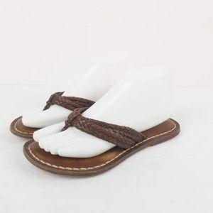 Bernardo Must Stone Pewter Leather Thong Sandal